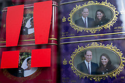 British royal family merchanidise and tourism souvenir tea bags which show the faces of Meghan Markle and Prince Harry, the Duke and Duchess of Sussex at their 2018 wedding, behind two exclamation marks, and the Duke and Duchess of Cambridge Prince William and Kate, in the window of trinket shop in the West End, on 15th January 2020, in London, England.
