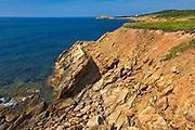 Rocky coastline along the Gulf of St. Lawrence. Cabot Trail. Cape Breton Island. Appalachian Mountain chain.  <br />Marjoree Harbour<br />Nova Scotia<br />Canada