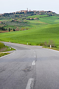A road trip leading to the hilltop village of Pienza, in the Val d'Orcia region of Tuscany, Italy.