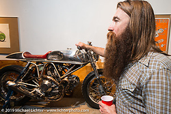Revival Motorcycles co-owner Stefan Hertel at the pre-party for the Handbuilt Motorcycle Show at Revival Cycles. Austin, TX. April 9, 2015.  Photography ©2015 Michael Lichter.