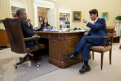 President Barack Obama talks with David Simas, Director of Political Strategy and Outreach, and Katie Beirne Fallon, Director of Legislative Affairs, in the Oval Office, Oct. 29, 2014. (Official White House Photo by Pete Souza)<br /> <br /> This official White House photograph is being made available only for publication by news organizations and/or for personal use printing by the subject(s) of the photograph. The photograph may not be manipulated in any way and may not be used in commercial or political materials, advertisements, emails, products, promotions that in any way suggests approval or endorsement of the President, the First Family, or the White House.