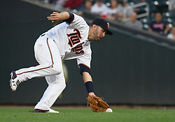 May 31, 2018 - Minneapolis, MN, U.S. - MINNEAPOLIS, MN - MAY 31: Minnesota Twins Second base Brian Dozier (2) fields a ground ball during a MLB game between the Minnesota Twins and Cleveland Indians on May 31, 2018 at Target Field in Minneapolis, MN. The Indians defeated the Twins 9-8.(Photo by Nick Wosika/Icon Sportswire) (Credit Image: © Nick Wosika/Icon SMI via ZUMA Press)
