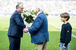 May 20, 2018 - Brugge, BELGIUM - Club's chairman Bart Verhaeghe receives flowers from Gent's chairman Ivan De Witte before the Jupiler Pro League match between Club Brugge KV and KAA Gent, Sunday 20 May 2018 in Brugge, on the tenth and last day of the Play-Off 1 of the Belgian soccer championship. BELGA PHOTO JASPER JACOBS (Credit Image: © Jasper Jacobs/Belga via ZUMA Press)