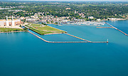 Aerial photograph of Port Washington, Wisconsin on a beautiful summer day.