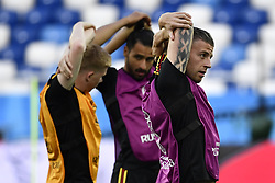 June 27, 2018 - Kaliningrad, RUSSIA - Belgium's Kevin De Bruyne and Belgium's Toby Alderweireld pictured during a training session of Belgian national soccer team the Red Devils in the Kaliningrad stadium, in Kaliningrad, Russia, Wednesday 27 June 2018. The team will play tomorrow their third game against England in the group stage of the FIFA World Cup 2018. BELGA PHOTO DIRK WAEM (Credit Image: © Dirk Waem/Belga via ZUMA Press)