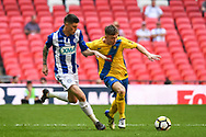 Kevin Hayes of Stockton Town (7) and Curtis Angell of Thatcham Town (3) battle for the ball during the FA Vase match between Stockton Town and Thatcham Town at Wembley Stadium, London, England on 20 May 2018. Picture by Stephen Wright