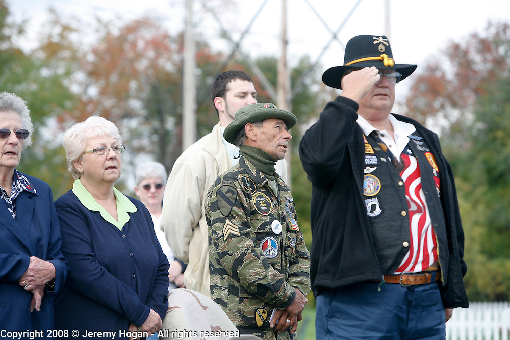 John Creech, B Troop 65-66 and First Signal Brigade 70-71 salutes during a rededication ceremony of the 9th Cavalry Monument at Motts Military Museum during the Gathering of Warriors reunion attended by Vietnam War Veterans of the 1st Squadron, 9th Cavalry, 1st Cavalry Divison.