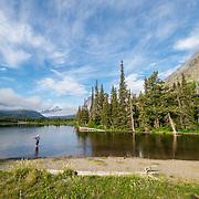 flyfisherman, two medicine lake, glacier national park