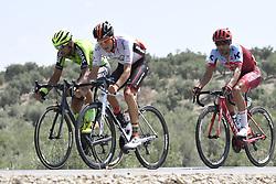 September 1, 2018 - Almaden, SPAIN - Spanish Jorge Cubero of Burgos - BH, Spanish Hector Saez of Euskadi Basque Country - Murias and Portuguese Tiago Machado of Katusha-Alpecin pictured in action during the eighth stage of the 'Vuelta a Espana', Tour of Spain cycling race, 195,1 km from Linares to Almaden, Spain, Saturday 01 September 2018. ..BELGA PHOTO YUZURU SUNADA FRANCE OUT (Credit Image: © Yuzuru Sunada/Belga via ZUMA Press)