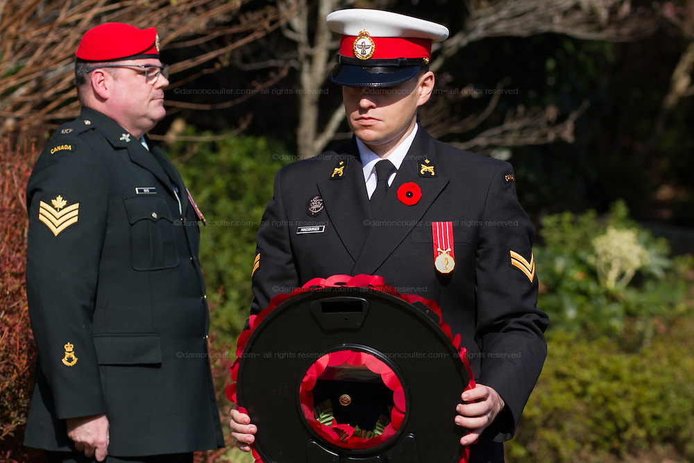 A military officer from from the Canadian Armed Forces lays a wreath during a ceremony for Remembrance Sunday at the Commonwealth War Graves Cemetery in Hodogaya, Yokohama, Japan. Sunday November 13th 2016. Each year representatives of the Commonwealth nations, along with American and other European nations that lost servicemen fighting the Japanese in World War 2, hold a multi-faith service of remembrance at this cemetery. This is the only cemetery for war dead in japan that is managed by the Commonwealth War Graves Commission.