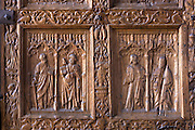 Detail of West Door, front, of Cathedral de Santa Maria de Leon in Leon, Castilla y Leon, Spain