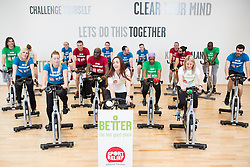 "© Licensed to London News Pictures . 01/03/2016 . Manchester , UK . Hollyoaks actress JENNIFER METCALFE (c) launches a national fundraiser , "" The Better Bike Challenge "" from the East Manchester Leisure Centre in Beswick . The Challenge features 10,000 people cycling one-mile , each donating £1 to #TeamBetter for Sport Relief . Photo credit : Joel Goodman/LNP"