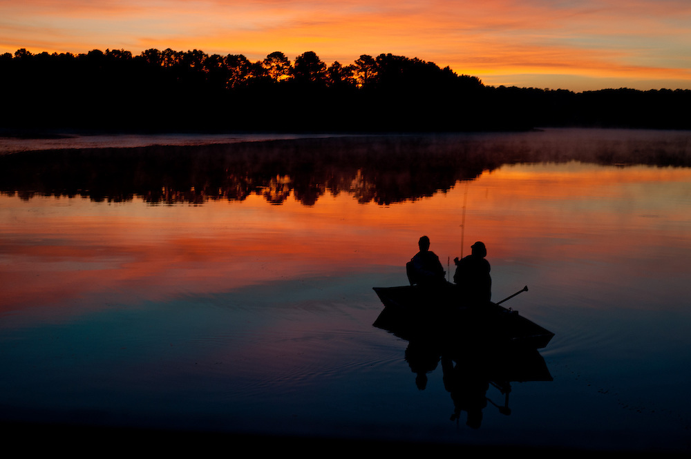 June 16, 2012; Griffin, GA, USA; Couple fishes on Cheatham Road Reservoir near Griffin at sunrise. Photo by Kevin Liles / kevindliles.com