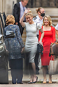 QC Sasha Wass (R red dress) leaves High Court along with actress Amber Heard (L white dress) on Monday, July 27, 2020. Reportedly today she was summing up at Depp's libel case against the newspaper over an article alleging he physically abused ex-wife Heard — a high-stakes celebrity trial in which the reputations of both former spouses are at stake. (VXP Photo/ Vudi Xhymshiti)