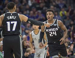 December 23, 2017 - Sacramento, CA, USA - The Sacramento Kings' Buddy Hield (24) reacts to a 3-point basket with teammate Garrett Temple (17) against the San Antonio Spurs on Saturday, Dec. 23, 2017, at Golden 1 Center in Sacramento, Calif. (Credit Image: © Hector Amezcua/TNS via ZUMA Wire)