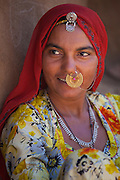 Indian Bishnoi woman at Bishnoi village near Rohet in Rajasthan, Northern India