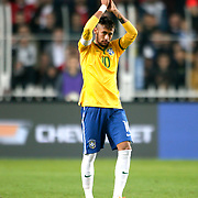 Brazil's Neymar JR celebrate victory during their a international friendly soccer match Turkey betwen Brazil at Sukru Saracoglu Arena in istanbul November 12, 2014. Photo by Aykut AKICI/TURKPIX
