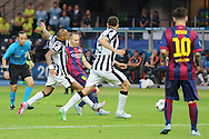 Barcelona Andrés Iniesta shoots during the Champions League Final between Juventus FC and FC Barcelona at the Olympiastadion, Berlin, Germany on 6 June 2015. Photo by Phil Duncan.