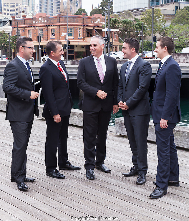 Group discussion outside Otto Restaurant, Woolloomooloo, Sydney.