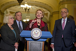 June 27, 2017 - Washington, District of Columbia, United States of America - United States Senator Debbie Stabenow (Democrat of Michigan) speaks to reporters following the Democratic Party luncheon in the United States Capitol in Washington, DC on Tuesday, June 27, 2017.  From left to right: US Senator Patty Murray (Democrat of Washington), US , Senate Minority Whip Dick Durbin (Democrat of Illinois), Senator Stabenow, and US Senate Minority Leader Chuck Schumer (Democrat of New York)..Credit: Ron Sachs / CNP (Credit Image: © Ron Sachs/CNP via ZUMA Wire)