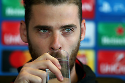 David De Gea of Manchester United during the press conference - Mandatory by-line: Matt McNulty/JMP - 11/09/2017 - FOOTBALL - AON Training Complex - Manchester, England - Manchester United v FC Basel - Press Conference & Training - UEFA Champions League - Group A