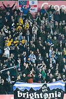 Football - 2017 / 2018 Premier League - Swansea City vs. Brighton & Hove Albion<br /> <br /> Brighton fans celebrate victory , at The Liberty Stadium.<br /> <br /> COLORSPORT/WINSTON BYNORTH