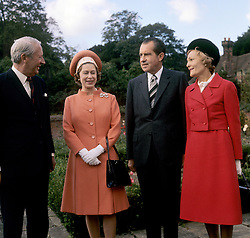The Queen with Prime Minister Edward Heath and American President Richard Nixon and his wife Pat Nixon at Chequers, the official country residence of the Prime Minister in Buckinghamshire.