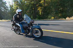 David Lloyd riding his 1919 Harley-Davidson during Stage 16 (142 miles) of the Motorcycle Cannonball Cross-Country Endurance Run, which on this day ran from Yakima to Tacoma, WA, USA. Sunday, September 21, 2014.  Photography ©2014 Michael Lichter.