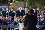 Approximately 100 guests listen to SJECCD Chancellor Emeritus Rita Cepeda during the Milpitas Unified School District and San Jose Evergreen Community College District Community College Extension Ground Breaking Ceremony near Russell Middle School in Milpitas, California, on November 17, 2015. (Stan Olszewski/SOSKIphoto)