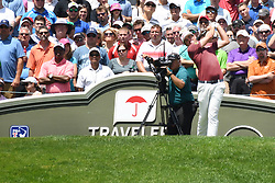 June 25, 2017 - Cromwell, Connecticut, U.S - Keegan Bradley tees off on the first hole during the final round of the Travelers Championship at TPC River Highlands in Cromwell, Connecticut. (Credit Image: © Brian Ciancio via ZUMA Wire)