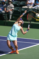 March 7, 2019 - Indian Wells, CA, U.S. - INDIAN WELLS, CA - MARCH 07: Misaki Doi (JPN) serves during the BNP Paribas Open on March 7, 2019 at Indian Wells Tennis Garden in Indian Wells, CA. (Photo by George Walker/Icon Sportswire) (Credit Image: © George Walker/Icon SMI via ZUMA Press)