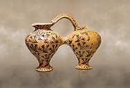 Minoan decorated double ewer with crocus flower  design,  Poros Heraklion 1800-1650 BC;  Heraklion Archaeological  Museum. .<br /> <br /> If you prefer to buy from our ALAMY PHOTO LIBRARY  Collection visit : https://www.alamy.com/portfolio/paul-williams-funkystock/minoan-art-artefacts.html . Type -   Heraklion   - into the LOWER SEARCH WITHIN GALLERY box. Refine search by adding background colour, place, museum etc<br /> <br /> Visit our MINOAN ART PHOTO COLLECTIONS for more photos to download  as wall art prints https://funkystock.photoshelter.com/gallery-collection/Ancient-Minoans-Art-Artefacts-Antiquities-Historic-Places-Pictures-Images-of/C0000ricT2SU_M9w