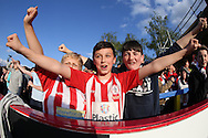 Accrington Stanley fans chanting during the 1st half. Skybet football league two play off semi final, 1st leg match, AFC Wimbledon v Accrington Stanley at the Cherry Red Records Stadium in Kingston upon Thames, Surrey on Saturday 14th May 2016.<br /> pic by John Patrick Fletcher, Andrew Orchard sports photography.