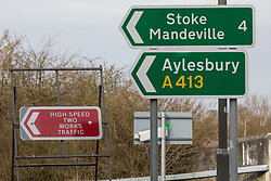 Wendover, UK. 20th February, 2021. A road sign warns of works traffic for the HS2 high-speed rail link close to the A413 to Aylesbury.
