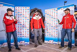 11.02.2021, Cortina, ITA, FIS Weltmeisterschaften Ski Alpin, Super G, Herren, Medaillenfeier, im Bild v.l. Andreas Puelacher (Sportlicher Leiter ÖSV Ski Alpin Herren), Vincent Kriechmayr (AUT, Goldmedaille), Patrick Riml (ÖSV Organisation und Struktur) // left to right: Andreas Puelacher Austrian Ski Association head Coach alpine Men's Gold medal winner and world champion Vincent Kriechmayr of Austria Patrick Riml Austrian Ski Association Organization and structure during the Medal celebration after the mens Super G of FIS Alpine Ski World Championships 2021 in Cortina, Italy on 2021/02/11. EXPA Pictures © 2021, PhotoCredit: EXPA/ Johann Groder