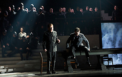 Thebans<br /> by Julian Anderson<br /> English National Opera, London Coliseum, London, Great Britain <br /> rehearsal<br /> 30th April 2014 <br /> <br /> <br /> Anthony Gregory as Haemon