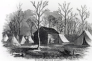 Shiloh Meeting House which gave its name to Battle of Shiloh, 6 April 1862, during American Civil War.