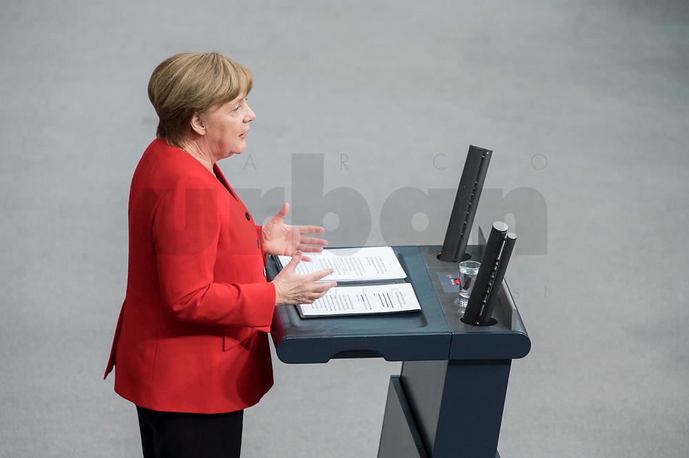 21 MAR 2019, BERLIN/GERMANY:<br /> Angela Merkel, CDU Bundeskanzlerin, waehrend einer  Regierungserklaerung zum Europaeischen Rat, Plenum, Deutscher Bundestag<br /> IMAGE: 20190321-01-047