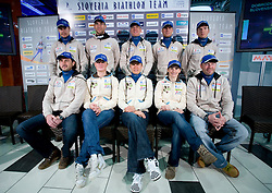 Group photo at press conference of Slovenian Biathlon National Team before new season 2008/2009, on November 24, 2008 in Emporium, BTC, Ljubljana, Slovenia.  (Photo by Vid Ponikvar / Sportida)