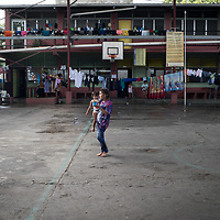 Inside a school building being used as a temporary shelter for people flooded out by Eta and Iota in San Pedro Sula.