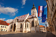 Late Gothic church of St. Mark's Church (Crkva sv. Marka) , Zagreb, Croatia .<br /> <br /> Visit our CROATIA HISTORIC SITES PHOTO COLLECTIONS for more photos to download or buy as wall art prints https://funkystock.photoshelter.com/gallery-collection/Pictures-Images-of-Croatia-Photos-of-Croatian-Historic-Landmark-Sites/C0000cY_V8uDo_ls