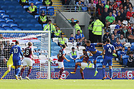 Nathaniel Mendez-Laing of Cardiff city (2nd r) scores his teams 1st goal with a header. EFL Skybet championship match, Cardiff city v Aston Villa at the Cardiff City Stadium in Cardiff, South Wales on Saturday 12th August 2017.<br /> pic by Andrew Orchard, Andrew Orchard sports photography.