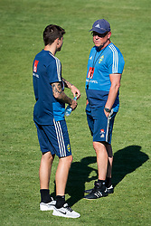 July 4, 2018 - Gelendzhik, Russia - 180704 Victor Nilsson LindelÅ¡f and head coach Janne Andersson of the Swedish national football team at a practice session during the FIFA World Cup on July 4, 2018 in Gelendzhik..Photo: Petter Arvidson / BILDBYRN / kod PA / 92081 (Credit Image: © Petter Arvidson/Bildbyran via ZUMA Press)