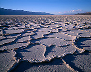 CADDV_003 - Polygonal patterns in huge salt pan on floor of Death Valley are accentuated by afternoon light, Panamint Mountains rise in the distance, Death Valley National Park, California, USA