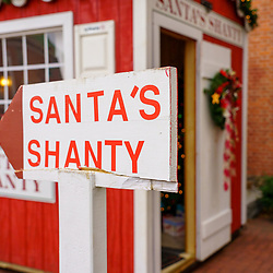 Gettysburg, PA / USA - December 7, 2019:  The Santa Shanty for Santa to greet children and hear their wishes at The Annual Christmas Festival in the town square.