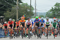 Pro-cyclist compete at the start of the 2016 Philadelphia Cycling Classic, on June 6th, 2016, in Philadelphia, Pennsylvania. Pro-cyclist compete at a 73.8miles/118.7km course for the UCI Women's World Tour and 110.7miles/178.2km for the UCI 1.1 Men's America Tour during the 'Manaynunk Wall' Philly Bike Race.
