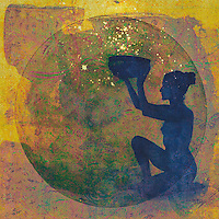 """Silhouette of Blue Shadowed Woman holding a vessel to gather light and cosmic creativity.<br /> <br /> ::::::::::::::::::::::::::::::::::::::::::::::::::::::::::::::::::::::::::<br /> <br /> """"In the Craft, we do not believe in the Goddess ~~ we connect with her; through the moon, the stars, the ocean, the earth, through trees, animals, through other human beings, through ourselves. She is here. She is within us all"""" <br /> ― Starhawk<br /> <br /> http://starhawk.org<br /> <br /> : Starhawk is an American writer and activist. She is known as a theorist of feminist Neopaganism and ecofeminism. Starhawk's book The Spiral Dance (1979) was one of the main inspirations behind the Goddess movement. In 2012, she was listed in Watkins' Mind Body Spirit magazine as one of the 100 Most Spiritually Influential Living People.<br /> <br /> ::::::::::::::::::::::::::::::::::::::::::::::::::::::::::::::::::::<br /> <br /> <br /> """"I, the fiery life of divine essence, am aflame beyond the beauty of the meadows. I gleam in the waters. I burn in the sun, moon, and stars. With every breeze, as with invisible life that contains everything, I awaken everything to life. I am the breeze that nurtures all things green. I encourage blossoms to flourish with ripening fruits. I am the rain coming from the dew that causes the grasses to laugh with the joy of life.<br /> ~ by Hildegard of Bingen<br /> <br /> ::::::::::::::::::::::::::::::<br /> <br /> Silhouette of a priestess holding the vessel of cosmic creativity.<br /> <br /> ::::::::::::::::"""