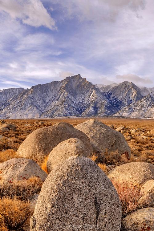 Rocks and Lone Pine Peak at Dawn, BLM Lands, Inyo County, California