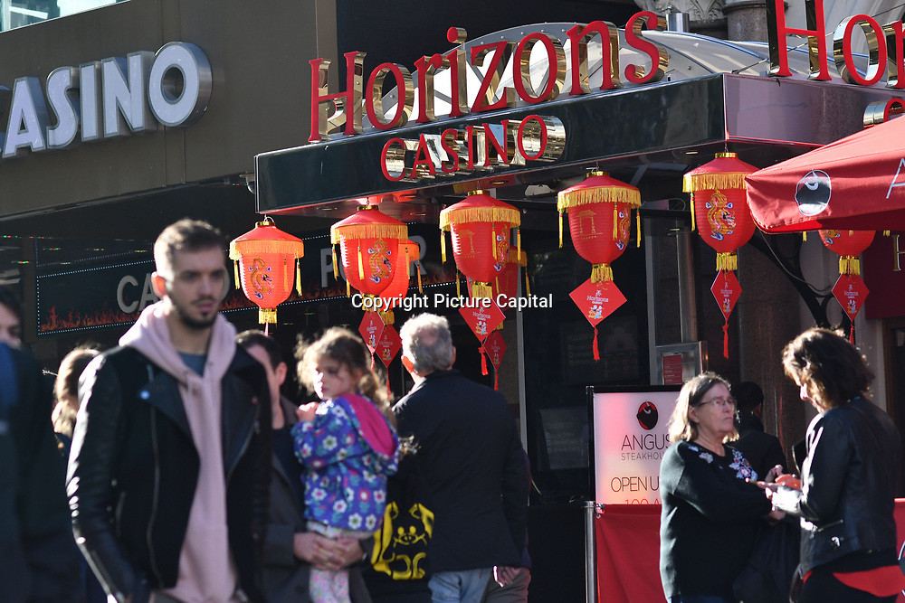 Harizons Casino decorated with chinese lantern at Leicester Square, London, UK 23 September 2018.