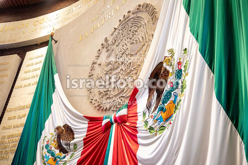 28 de agosto de 2020. Ciudad de México. Banderas en el muro de honor de la cámara de diputados  /  Banderas on the honor wall in the deputies chamber